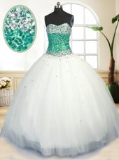 Sleeveless Floor Length Beading Lace Up Sweet 16 Quinceanera Dress with White