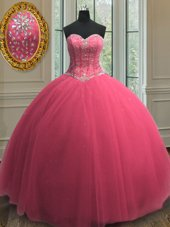 Unique Beading and Sequins Ball Gown Prom Dress Hot Pink Lace Up Sleeveless Floor Length