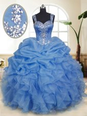 Sleeveless Floor Length Beading and Ruffles and Pick Ups Zipper Quinceanera Dress with Blue