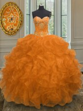 Orange Lace Up Sweetheart Beading and Embroidery and Ruffles Quinceanera Dress Organza Sleeveless