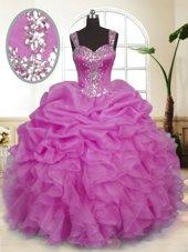 Custom Fit Lilac Straps Neckline Beading and Ruffles and Pick Ups Vestidos de Quinceanera Sleeveless Zipper