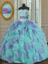 Custom Design Sweetheart Sleeveless Organza Sweet 16 Dresses Beading and Appliques and Ruffles and Sashes|ribbons and Hand Made Flower Lace Up