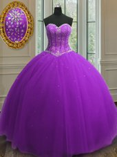 Elegant Beading and Sequins Quince Ball Gowns Purple Lace Up Sleeveless Floor Length