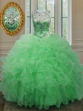 Scoop Organza Sleeveless Floor Length Quince Ball Gowns and Beading and Ruffles
