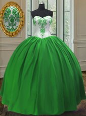 Luxurious Green Sleeveless Taffeta Lace Up Ball Gown Prom Dress for Military Ball and Sweet 16 and Quinceanera