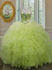Scoop Yellow Green Sleeveless Organza Lace Up Quinceanera Dresses for Military Ball and Sweet 16 and Quinceanera