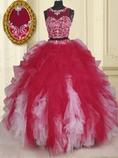 White And Red Ball Gowns Beading and Ruffles 15 Quinceanera Dress Lace Up Organza Sleeveless Floor Length