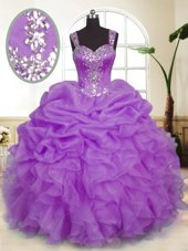 Trendy Organza Sleeveless Floor Length Quinceanera Gown and Beading and Ruffles and Pick Ups