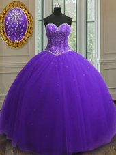 Delicate Purple 15 Quinceanera Dress Military Ball and Sweet 16 and Quinceanera and For with Beading and Sequins Sweetheart Sleeveless Lace Up