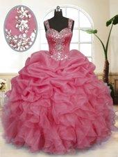 Decent Pink Ball Gowns Straps Sleeveless Organza Floor Length Zipper Beading and Ruffles and Pick Ups 15 Quinceanera Dress
