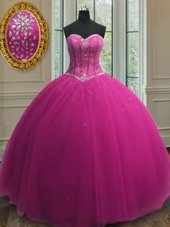 Fuchsia Sweetheart Lace Up Beading and Sequins Quinceanera Gown Sleeveless
