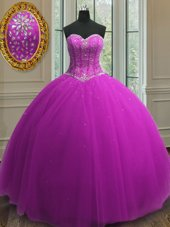 Low Price Sleeveless Tulle Floor Length Lace Up Quinceanera Gowns in Purple for with Beading and Sequins