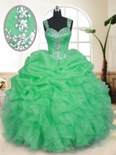 Zipper Quinceanera Gown Beading and Ruffles and Pick Ups Sleeveless Floor Length