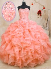 Flare Sleeveless Lace Up Floor Length Beading and Ruffles Ball Gown Prom Dress