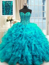 Sleeveless Lace Up Floor Length Beading and Ruffles and Sequins Sweet 16 Dress