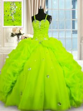 Organza Spaghetti Straps Sleeveless Lace Up Beading and Pick Ups Vestidos de Quinceanera in Yellow Green