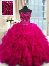 Shining Sleeveless Floor Length Beading and Ruffles and Sequins Lace Up Sweet 16 Dresses with Fuchsia
