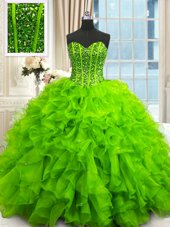 Free and Easy Sequins Floor Length Ball Gowns Sleeveless Sweet 16 Dresses Lace Up