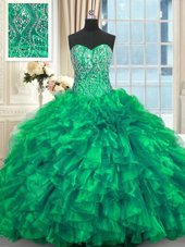 Captivating Organza Sleeveless Sweet 16 Dresses Brush Train and Beading and Ruffles
