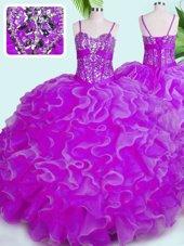 Fuchsia Lace Up Spaghetti Straps Beading and Ruffles Ball Gown Prom Dress Organza Sleeveless