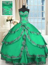 Turquoise Ball Gowns Beading and Embroidery and Ruffled Layers 15th Birthday Dress Lace Up Taffeta Sleeveless Floor Length