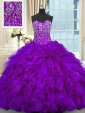 Gorgeous Purple Quinceanera Gown Sweetheart Sleeveless Brush Train Lace Up