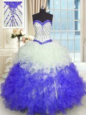 Sleeveless Organza With Brush Train Lace Up Sweet 16 Quinceanera Dress in Turquoise for with Beading and Ruffles