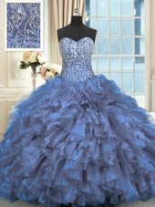 Chic Blue Organza Lace Up Sweetheart Sleeveless Quince Ball Gowns Brush Train Beading and Ruffles