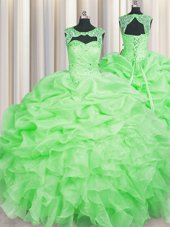 Customized Scoop Sleeveless Floor Length Beading and Pick Ups Lace Up Quinceanera Gowns with
