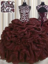 See Through Scoop Sleeveless 15th Birthday Dress Floor Length Beading and Pick Ups Burgundy Organza