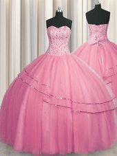 Fancy Visible Boning Big Puffy Rose Pink Sleeveless Floor Length Beading Lace Up Sweet 16 Quinceanera Dress