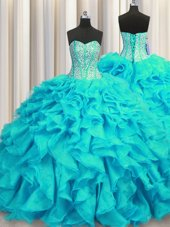 Visible Boning Sweetheart Sleeveless Quinceanera Gown Brush Train Beading and Ruffles Aqua Blue Organza
