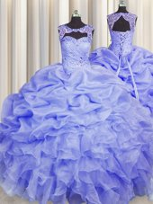 Unique Blue Scoop Lace Up Beading and Pick Ups Quinceanera Dresses Sleeveless