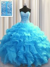 Visible Boning Red Sleeveless Floor Length Beading and Ruffles Lace Up 15 Quinceanera Dress