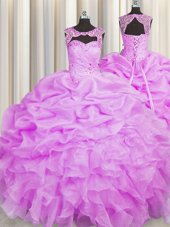 Fabulous Scoop Organza Sleeveless Floor Length Sweet 16 Dress and Beading and Pick Ups