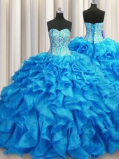 Visible Boning Baby Blue Ball Gowns Beading and Ruffles Sweet 16 Quinceanera Dress Lace Up Organza Sleeveless