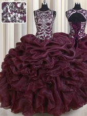 See Through Burgundy Scoop Neckline Beading and Pick Ups Quinceanera Dresses Sleeveless Lace Up