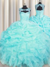 Scoop Sleeveless Beading and Pick Ups Lace Up Sweet 16 Quinceanera Dress