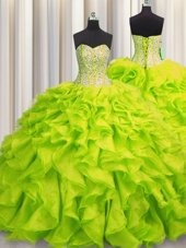 Glorious Visible Boning Sweetheart Sleeveless Lace Up Sweet 16 Dress Yellow Green Organza