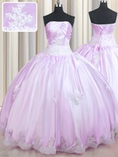Sleeveless Lace Up Floor Length Beading and Appliques Sweet 16 Dress