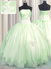 Floor Length Green Ball Gown Prom Dress Strapless Sleeveless Lace Up