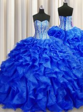 Trendy Visible Boning Brush Train Ball Gowns Quinceanera Dress Royal Blue Sweetheart Organza Sleeveless Lace Up