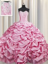New Arrival Sweetheart Sleeveless Taffeta Quinceanera Dresses Beading and Pick Ups Brush Train Lace Up