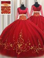 Free and Easy Red Zipper Square Beading and Embroidery Quinceanera Dresses Tulle Long Sleeves
