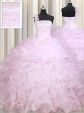 Admirable Baby Pink Ball Gowns One Shoulder Sleeveless Organza Floor Length Zipper Beading and Ruffles Sweet 16 Quinceanera Dress