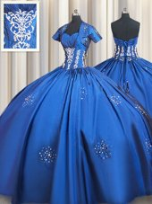 High End Blue Quinceanera Gowns Military Ball and Sweet 16 and Quinceanera and For with Beading and Appliques Sweetheart Short Sleeves Lace Up