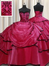 Clearance Sweetheart Sleeveless Satin Vestidos de Quinceanera Beading and Appliques and Ruffled Layers Lace Up