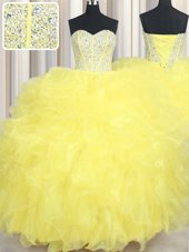Yellow Sleeveless Floor Length Beading and Ruffles Lace Up Quinceanera Dresses