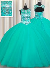 Stylish Turquoise Ball Gowns Tulle Scoop Sleeveless Appliques Floor Length Lace Up Quinceanera Dresses