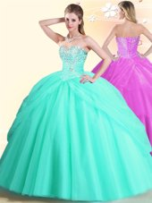 Apple Green Sleeveless Tulle Lace Up Vestidos de Quinceanera for Military Ball and Sweet 16 and Quinceanera